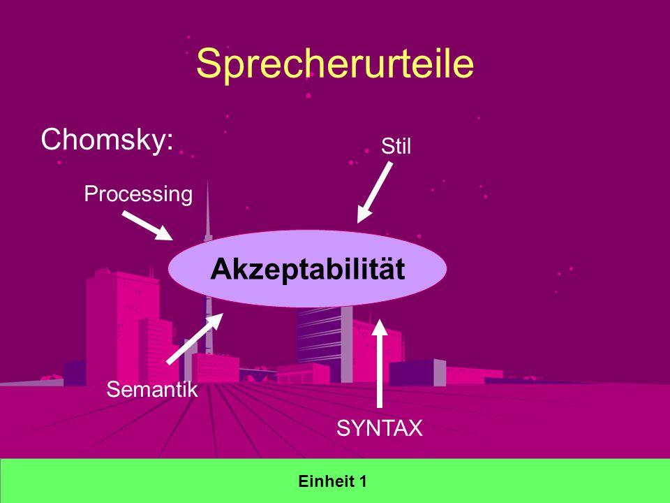 Sprecherurteile Chomsky: Akzeptabilität Processing Semantik Stil SYNTAX Einheit 1