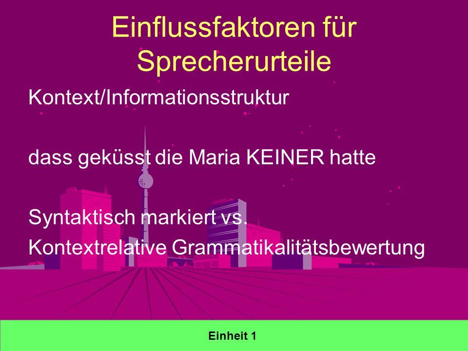 Einflussfaktoren für Sprecherurteile Kontext/Informationsstruktur dass geküsst die Maria KEINER hatte Syntaktisch markiert vs.