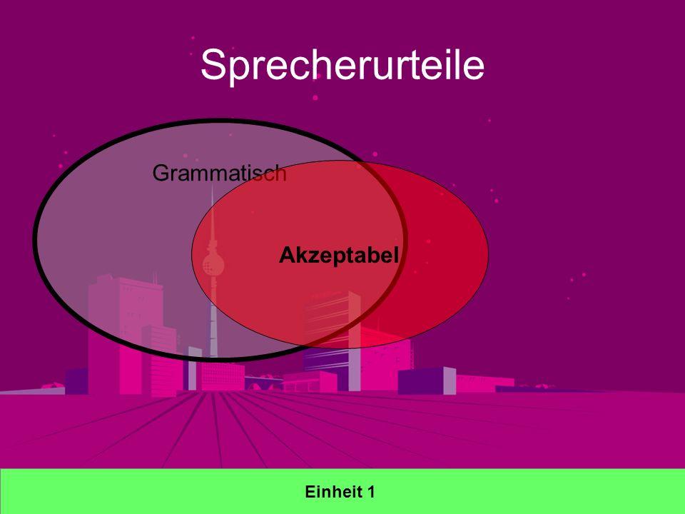 Sprecherurteile Einheit 1 Grammatisch Akzeptabel