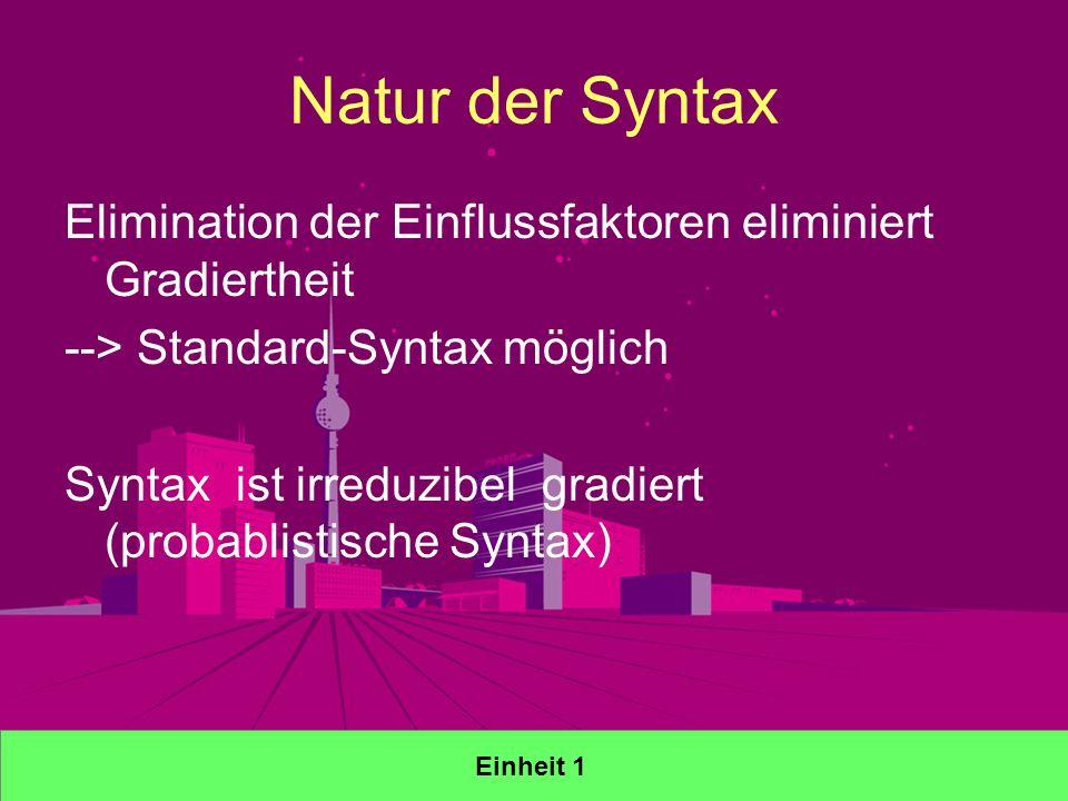 Natur der Syntax Elimination der Einflussfaktoren eliminiert Gradiertheit --> Standard-Syntax möglich Syntax ist irreduzibel gradiert (probablistische Syntax) Einheit 1