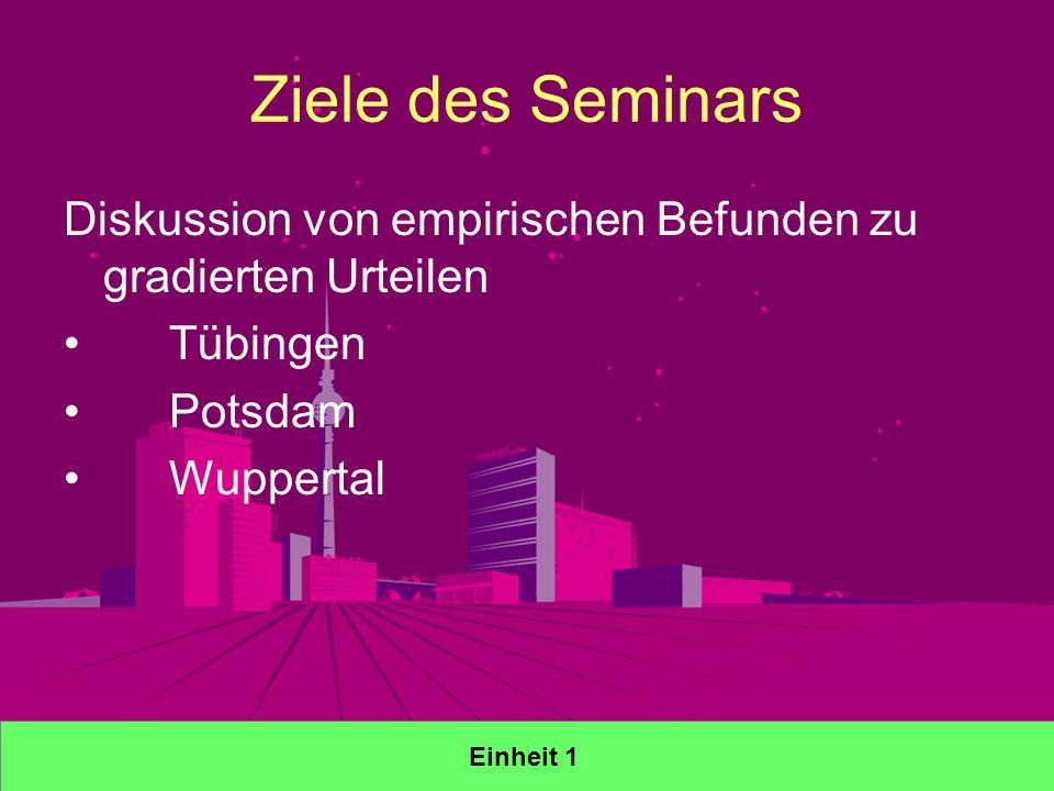 Ziele des Seminars Diskussion von empirischen Befunden zu gradierten Urteilen Tübingen Potsdam Wuppertal Einheit 1