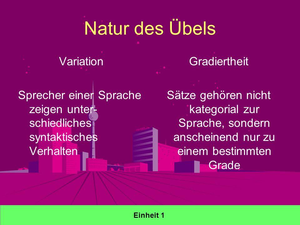 Natur des Übels Variation Sprecher einer Sprache zeigen unter- schiedliches syntaktisches Verhalten Gradiertheit Sätze gehören nicht kategorial zur Sprache, sondern anscheinend nur zu einem bestimmten Grade Einheit 1