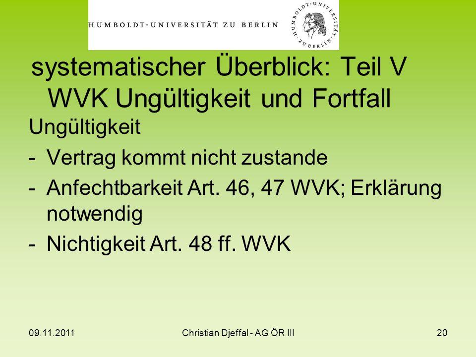 09.11.2011Christian Djeffal - AG ÖR III20 systematischer Überblick: Teil V WVK Ungültigkeit und Fortfall Ungültigkeit -Vertrag kommt nicht zustande -A