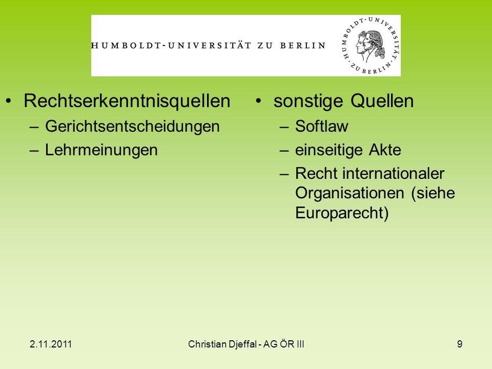 2.11.2011Christian Djeffal - AG ÖR III9 Rechtserkenntnisquellen –Gerichtsentscheidungen –Lehrmeinungen sonstige Quellen –Softlaw –einseitige Akte –Rec