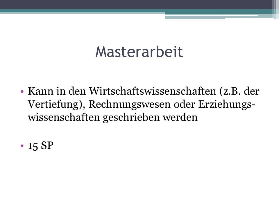 Masterarbeit Kann in den Wirtschaftswissenschaften (z.B.
