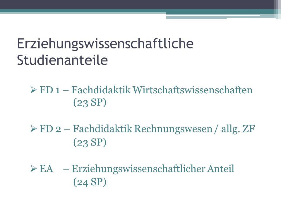 Erziehungswissenschaftliche Studienanteile FD 1 – Fachdidaktik Wirtschaftswissenschaften (23 SP) FD 2 – Fachdidaktik Rechnungswesen / allg.