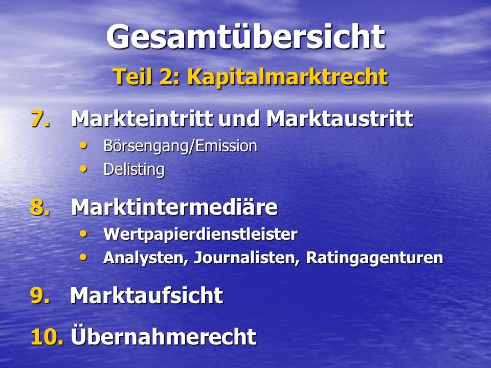 Gesamtübersicht Teil 2: Kapitalmarktrecht 7. Markteintritt und Marktaustritt Börsengang/Emission Börsengang/Emission Delisting Delisting 8. Marktinter