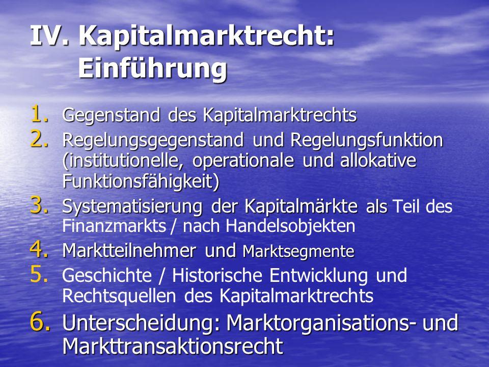 IV. Kapitalmarktrecht: Einführung 1. Gegenstand des Kapitalmarktrechts 2. Regelungsgegenstand und Regelungsfunktion (institutionelle, operationale und