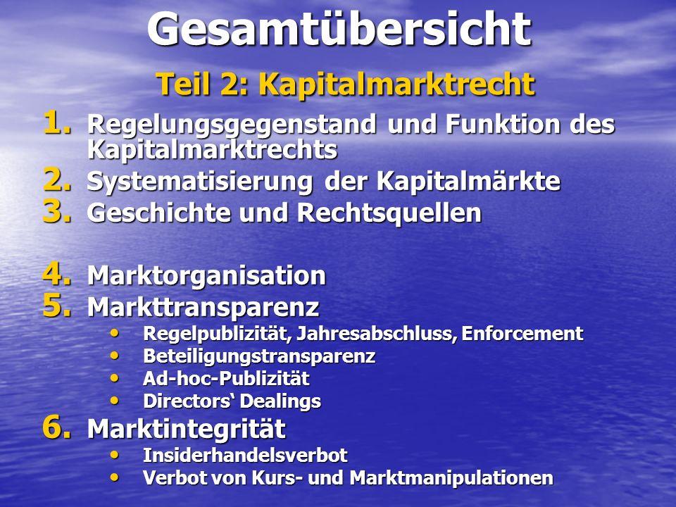 Gesamtübersicht Teil 2: Kapitalmarktrecht 1. Regelungsgegenstand und Funktion des Kapitalmarktrechts 2. Systematisierung der Kapitalmärkte 3. Geschich