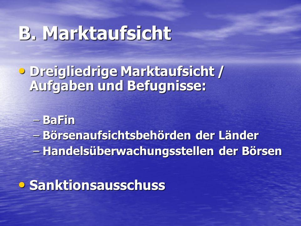 B. Marktaufsicht Dreigliedrige Marktaufsicht / Aufgaben und Befugnisse: Dreigliedrige Marktaufsicht / Aufgaben und Befugnisse: –BaFin –Börsenaufsichts
