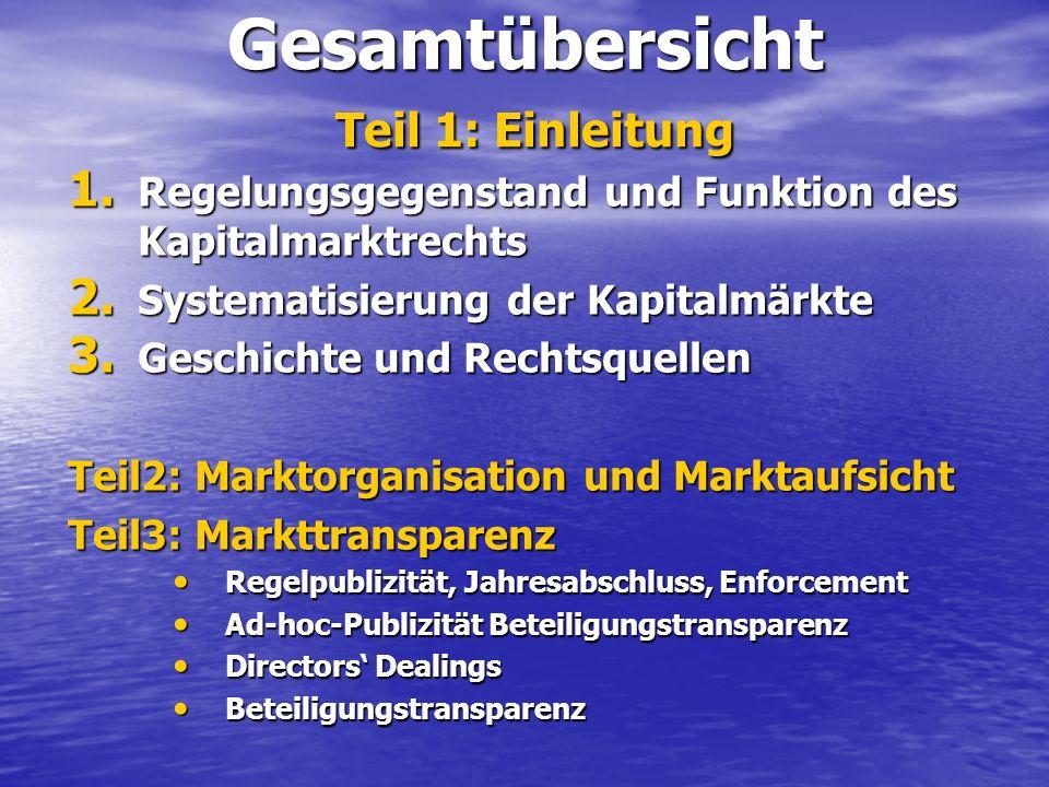 Gesamtübersicht Teil 1: Einleitung 1. Regelungsgegenstand und Funktion des Kapitalmarktrechts 2. Systematisierung der Kapitalmärkte 3. Geschichte und