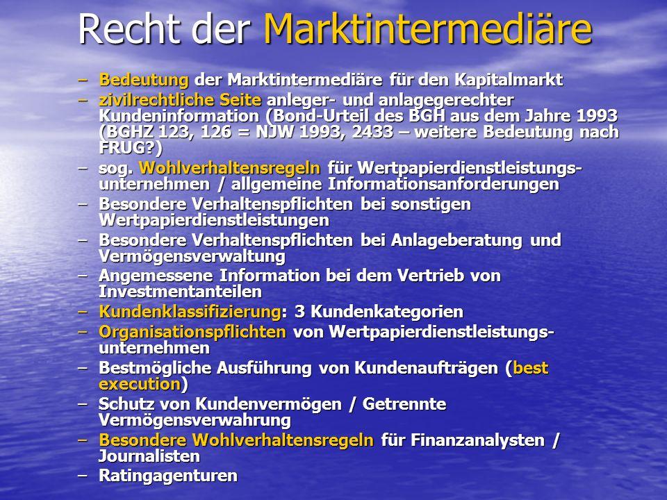 Recht der Marktintermediäre Recht der Marktintermediäre –Bedeutung der Marktintermediäre für den Kapitalmarkt –zivilrechtliche Seite anleger- und anla