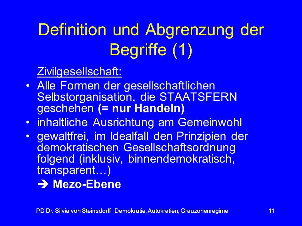 PD Dr. Silvia von Steinsdorff Demokratie, Autokratien, Grauzonenregime11 Definition und Abgrenzung der Begriffe (1) Zivilgesellschaft: Alle Formen der