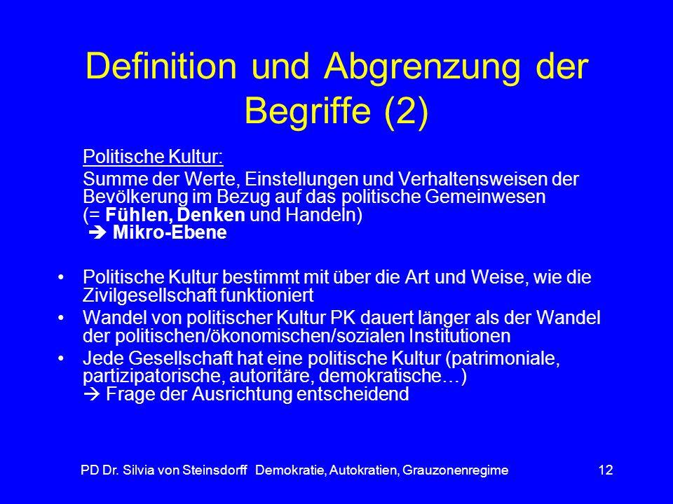 PD Dr. Silvia von Steinsdorff Demokratie, Autokratien, Grauzonenregime12 Definition und Abgrenzung der Begriffe (2) Politische Kultur: Summe der Werte