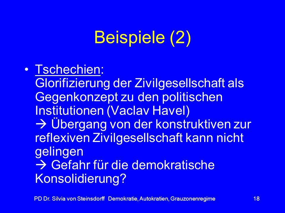PD Dr. Silvia von Steinsdorff Demokratie, Autokratien, Grauzonenregime18 Beispiele (2) Tschechien: Glorifizierung der Zivilgesellschaft als Gegenkonze