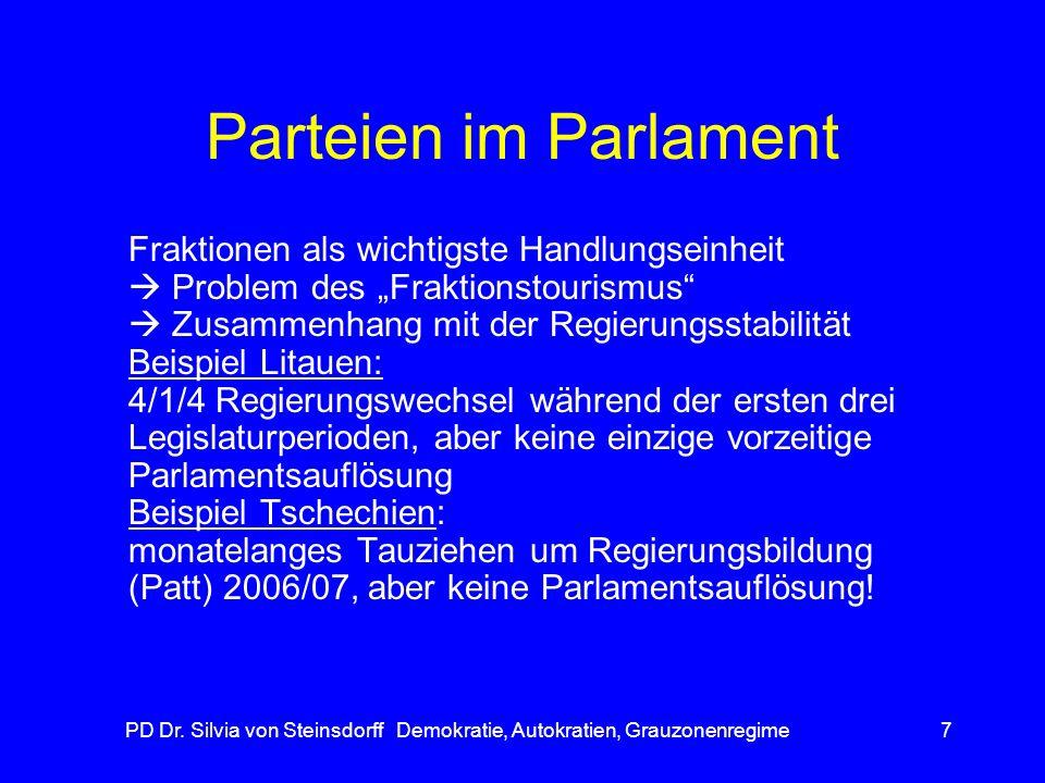 PD Dr. Silvia von Steinsdorff Demokratie, Autokratien, Grauzonenregime7 Parteien im Parlament Fraktionen als wichtigste Handlungseinheit Problem des F