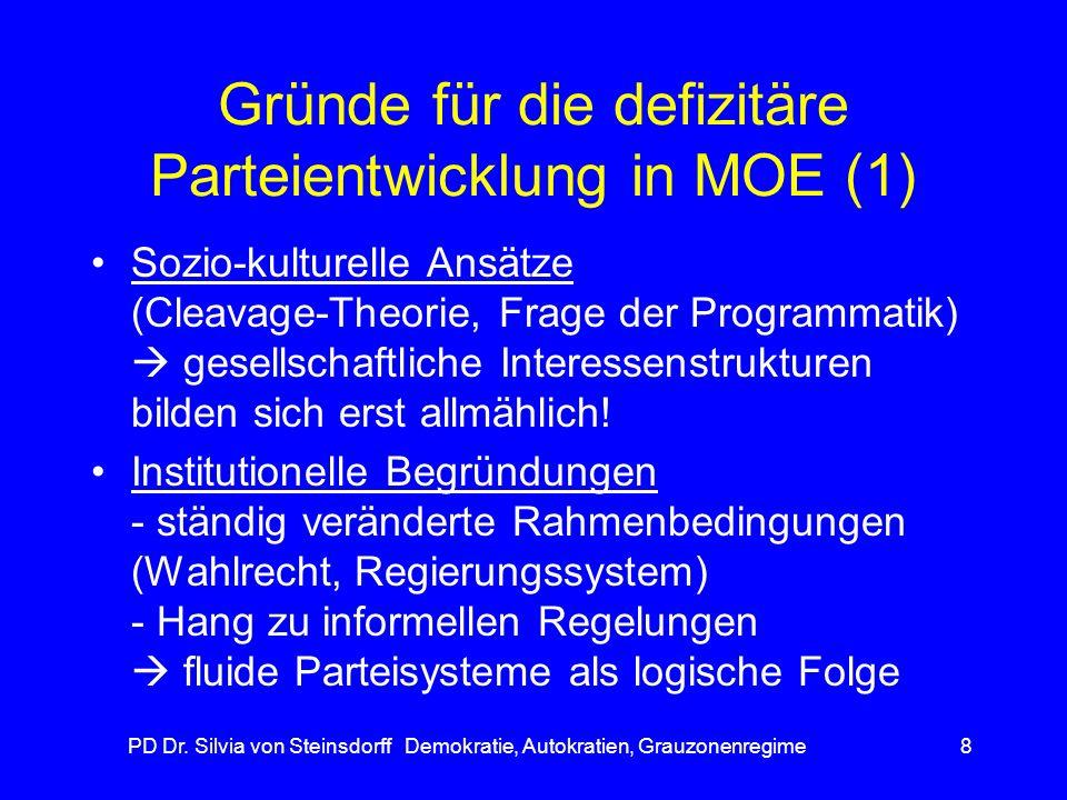 PD Dr. Silvia von Steinsdorff Demokratie, Autokratien, Grauzonenregime8 Gründe für die defizitäre Parteientwicklung in MOE (1) Sozio-kulturelle Ansätz
