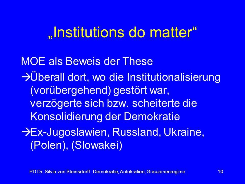 PD Dr. Silvia von Steinsdorff Demokratie, Autokratien, Grauzonenregime10 Institutions do matter MOE als Beweis der These Überall dort, wo die Institut