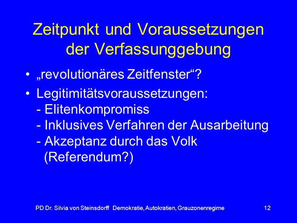 PD Dr. Silvia von Steinsdorff Demokratie, Autokratien, Grauzonenregime12 Zeitpunkt und Voraussetzungen der Verfassunggebung revolutionäres Zeitfenster