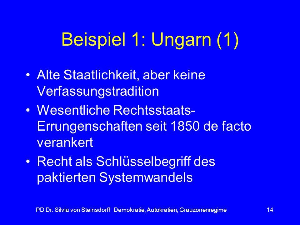 PD Dr. Silvia von Steinsdorff Demokratie, Autokratien, Grauzonenregime14 Beispiel 1: Ungarn (1) Alte Staatlichkeit, aber keine Verfassungstradition We