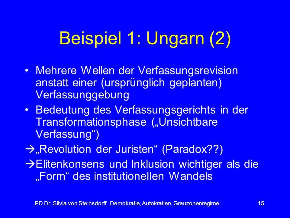 PD Dr. Silvia von Steinsdorff Demokratie, Autokratien, Grauzonenregime15 Beispiel 1: Ungarn (2) Mehrere Wellen der Verfassungsrevision anstatt einer (