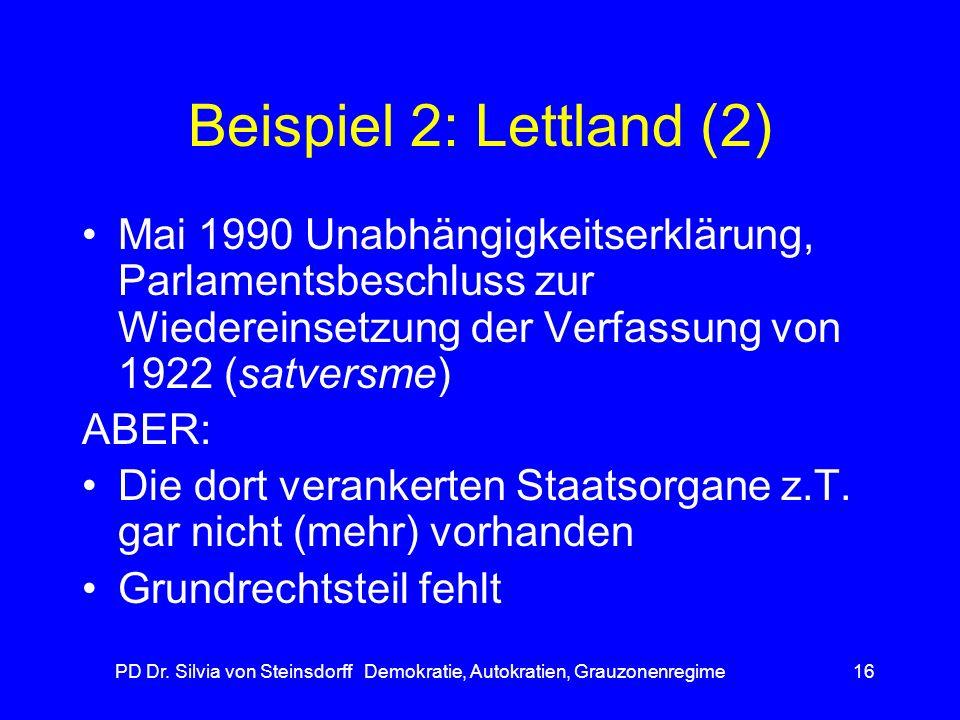 PD Dr. Silvia von Steinsdorff Demokratie, Autokratien, Grauzonenregime16 Beispiel 2: Lettland (2) Mai 1990 Unabhängigkeitserklärung, Parlamentsbeschlu
