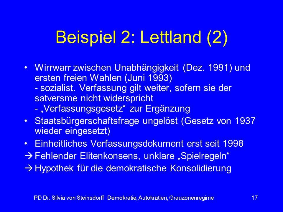 PD Dr. Silvia von Steinsdorff Demokratie, Autokratien, Grauzonenregime17 Beispiel 2: Lettland (2) Wirrwarr zwischen Unabhängigkeit (Dez. 1991) und ers