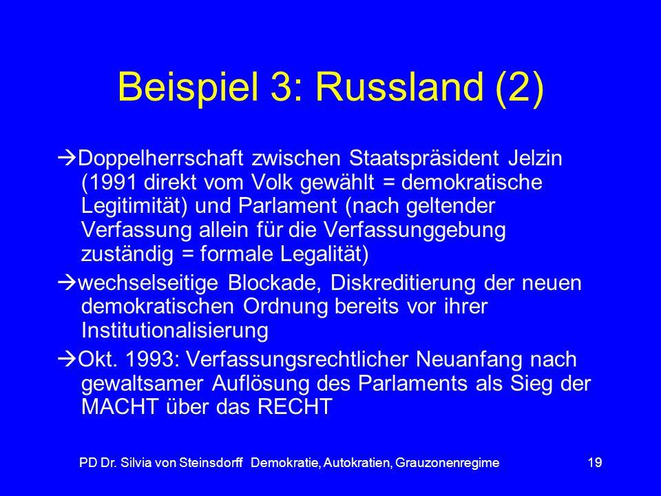 PD Dr. Silvia von Steinsdorff Demokratie, Autokratien, Grauzonenregime19 Beispiel 3: Russland (2) Doppelherrschaft zwischen Staatspräsident Jelzin (19
