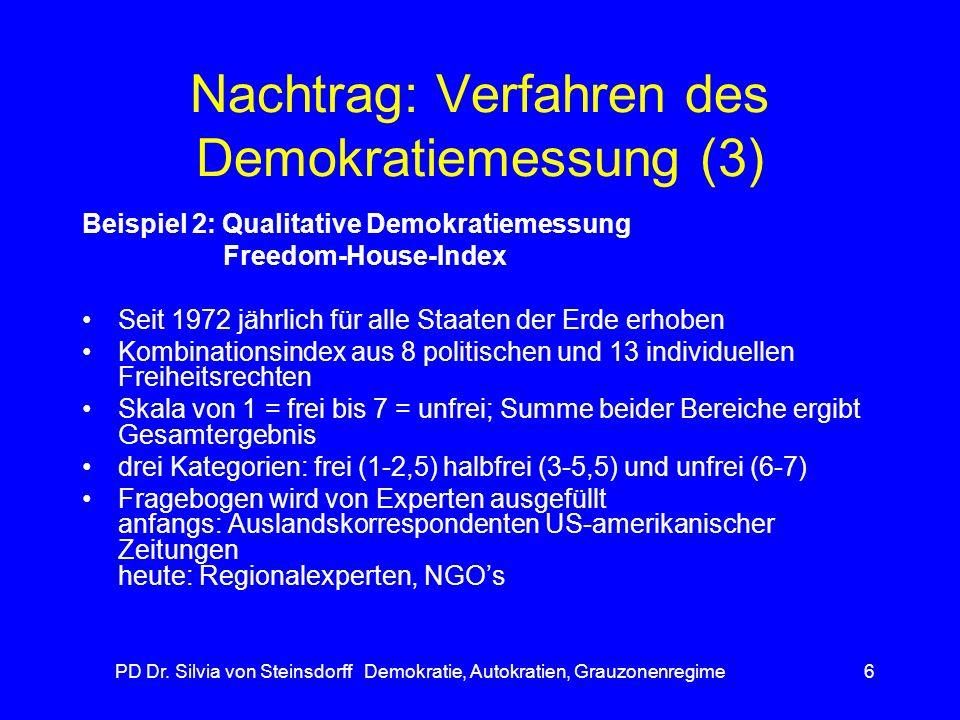 PD Dr. Silvia von Steinsdorff Demokratie, Autokratien, Grauzonenregime6 Nachtrag: Verfahren des Demokratiemessung (3) Beispiel 2: Qualitative Demokrat