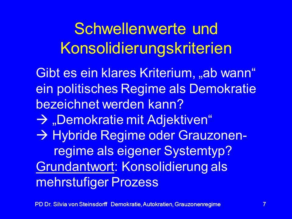 PD Dr. Silvia von Steinsdorff Demokratie, Autokratien, Grauzonenregime7 Schwellenwerte und Konsolidierungskriterien Gibt es ein klares Kriterium, ab w