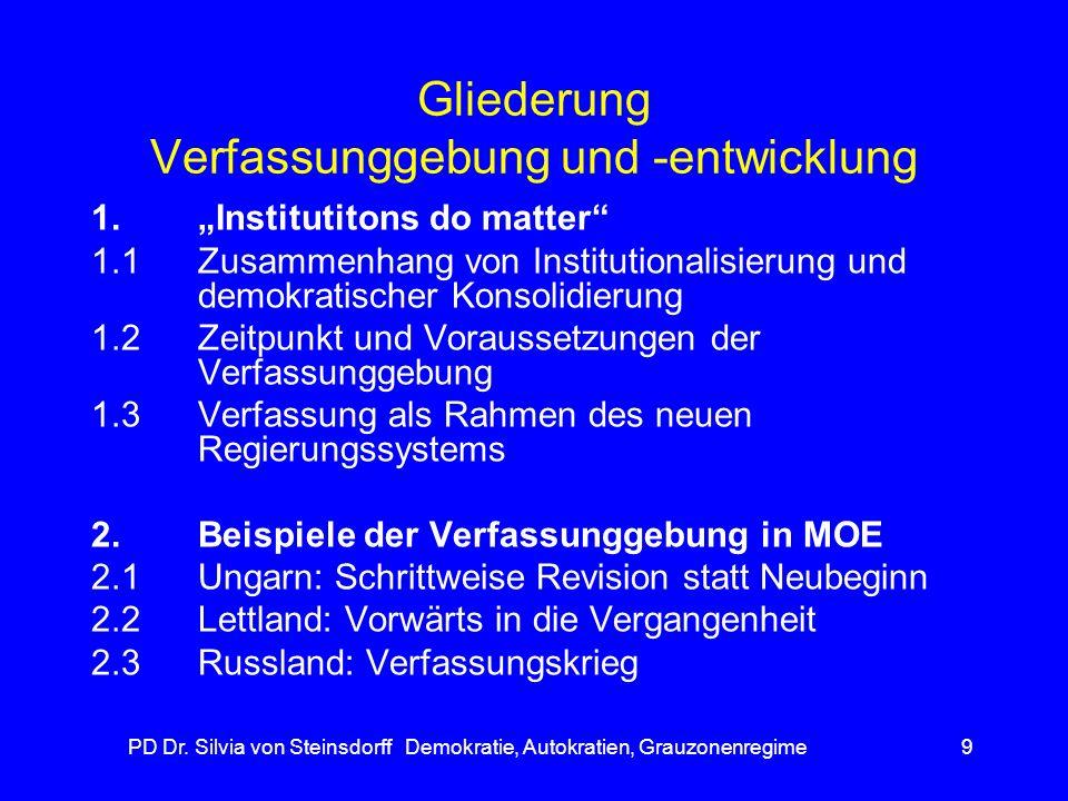 PD Dr. Silvia von Steinsdorff Demokratie, Autokratien, Grauzonenregime9 Gliederung Verfassunggebung und -entwicklung 1.Institutitons do matter 1.1Zusa