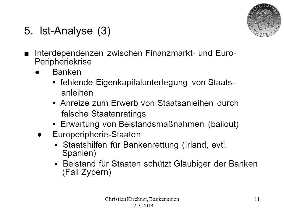 Christian Kirchner, Bankenunion 12.3.2013 11 5. Ist-Analyse (3) Interdependenzen zwischen Finanzmarkt- und Euro- Peripheriekrise Banken fehlende Eigen