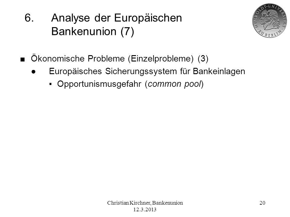 Christian Kirchner, Bankenunion 12.3.2013 20 6.Analyse der Europäischen Bankenunion (7) Ökonomische Probleme (Einzelprobleme) (3) Europäisches Sicheru