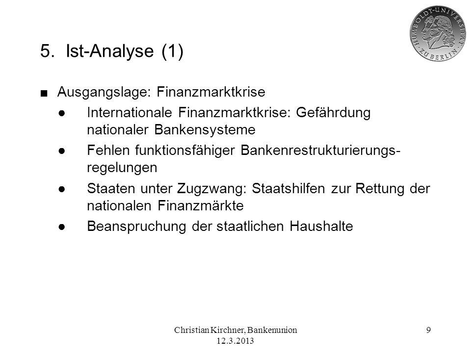 Christian Kirchner, Bankenunion 12.3.2013 9 5. Ist-Analyse (1) Ausgangslage: Finanzmarktkrise Internationale Finanzmarktkrise: Gefährdung nationaler B