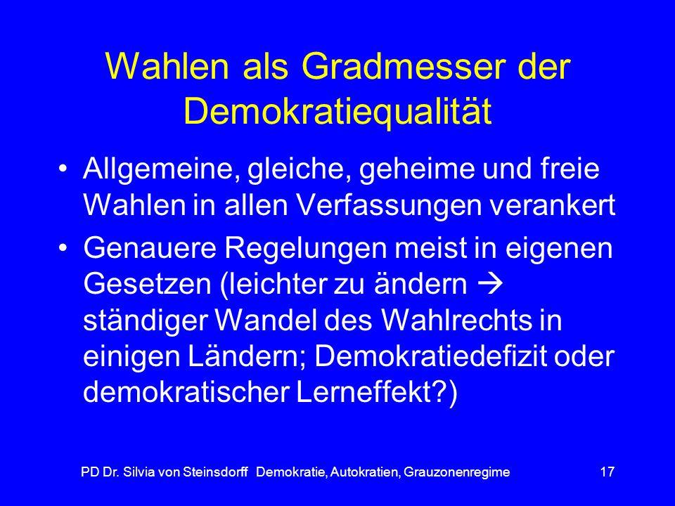 PD Dr. Silvia von Steinsdorff Demokratie, Autokratien, Grauzonenregime17 Wahlen als Gradmesser der Demokratiequalität Allgemeine, gleiche, geheime und