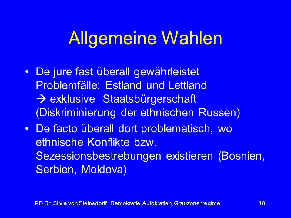 PD Dr. Silvia von Steinsdorff Demokratie, Autokratien, Grauzonenregime18 Allgemeine Wahlen De jure fast überall gewährleistet Problemfälle: Estland un