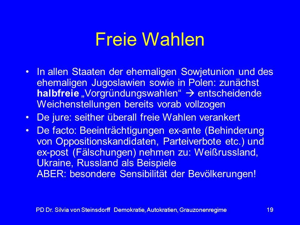 PD Dr. Silvia von Steinsdorff Demokratie, Autokratien, Grauzonenregime19 Freie Wahlen In allen Staaten der ehemaligen Sowjetunion und des ehemaligen J