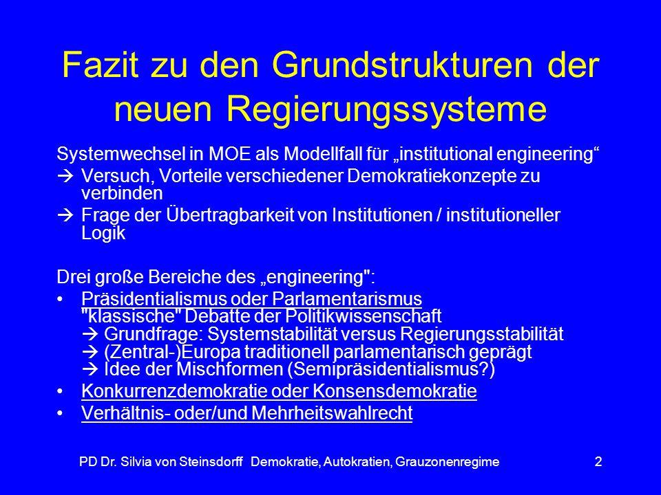 PD Dr. Silvia von Steinsdorff Demokratie, Autokratien, Grauzonenregime2 Fazit zu den Grundstrukturen der neuen Regierungssysteme Systemwechsel in MOE