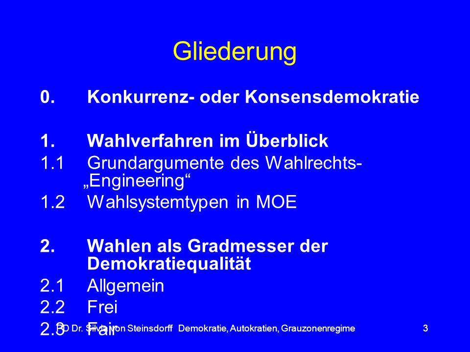 PD Dr. Silvia von Steinsdorff Demokratie, Autokratien, Grauzonenregime3 Gliederung 0.Konkurrenz- oder Konsensdemokratie 1. Wahlverfahren im Überblick
