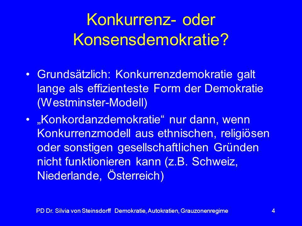 PD Dr. Silvia von Steinsdorff Demokratie, Autokratien, Grauzonenregime4 Konkurrenz- oder Konsensdemokratie? Grundsätzlich: Konkurrenzdemokratie galt l