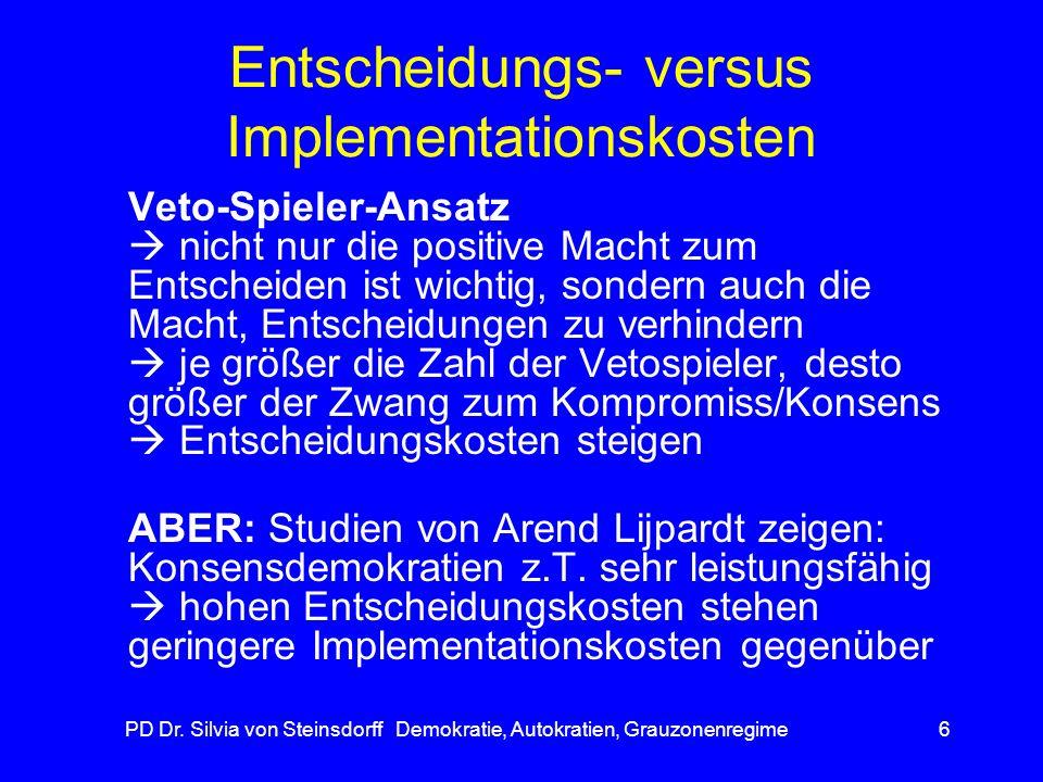 PD Dr. Silvia von Steinsdorff Demokratie, Autokratien, Grauzonenregime6 Entscheidungs- versus Implementationskosten Veto-Spieler-Ansatz nicht nur die