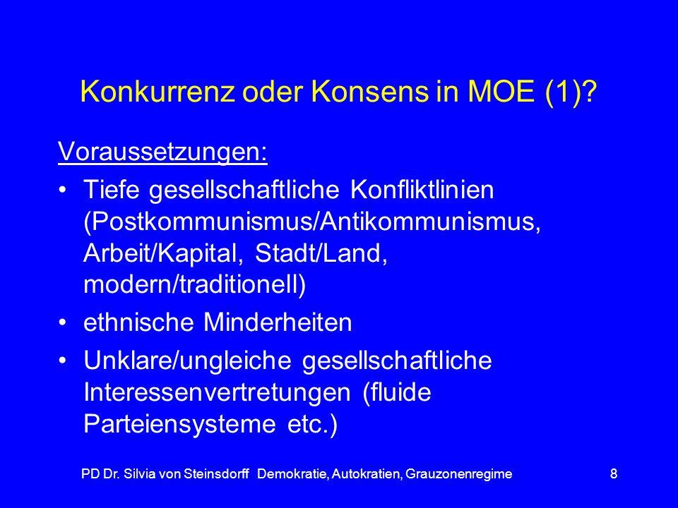 PD Dr. Silvia von Steinsdorff Demokratie, Autokratien, Grauzonenregime8 Konkurrenz oder Konsens in MOE (1)? Voraussetzungen: Tiefe gesellschaftliche K