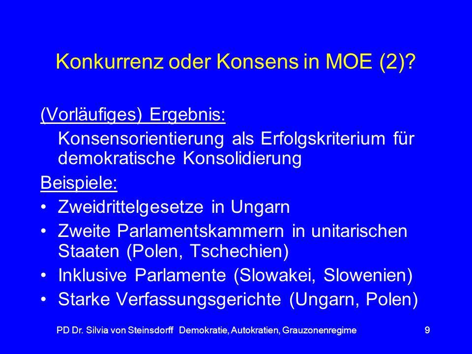 PD Dr. Silvia von Steinsdorff Demokratie, Autokratien, Grauzonenregime9 Konkurrenz oder Konsens in MOE (2)? (Vorläufiges) Ergebnis: Konsensorientierun