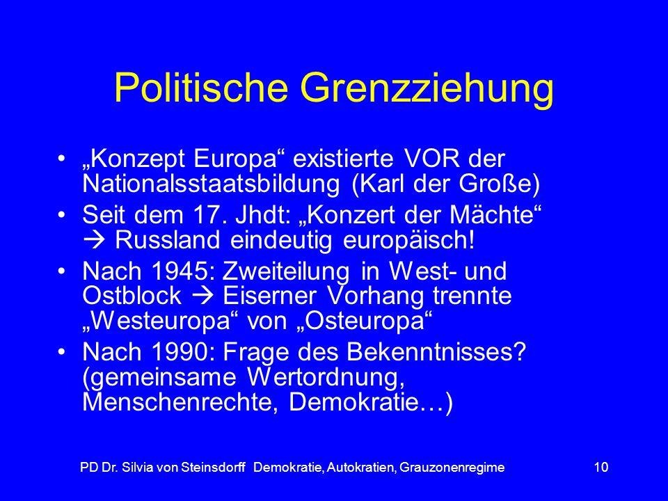 PD Dr. Silvia von Steinsdorff Demokratie, Autokratien, Grauzonenregime10 Politische Grenzziehung Konzept Europa existierte VOR der Nationalsstaatsbild