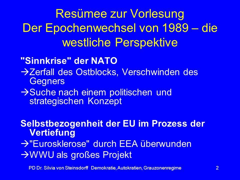 PD Dr. Silvia von Steinsdorff Demokratie, Autokratien, Grauzonenregime2 Resümee zur Vorlesung Der Epochenwechsel von 1989 – die westliche Perspektive