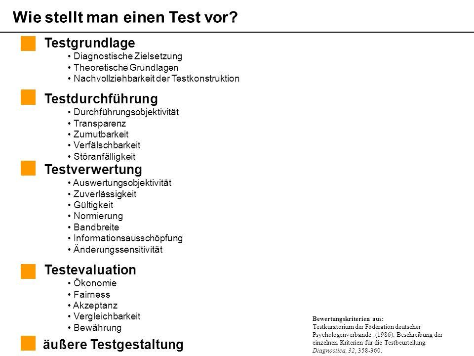 Themen der pädagogisch psychologischen Diagnostik (Sommersemester 2006) Martin Brunner äußere Testgestaltung Testverwertung Auswertungsobjektivität Zuverlässigkeit Gültigkeit Normierung Bandbreite Informationsausschöpfung Änderungssensitivität Testgrundlage Diagnostische Zielsetzung Theoretische Grundlagen Nachvollziehbarkeit der Testkonstruktion Testevaluation Ökonomie Fairness Akzeptanz Vergleichbarkeit Bewährung Wie stellt man einen Test vor.