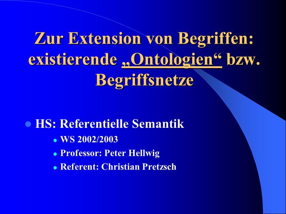 Zur Extension von Begriffen: existierende Ontologien bzw.