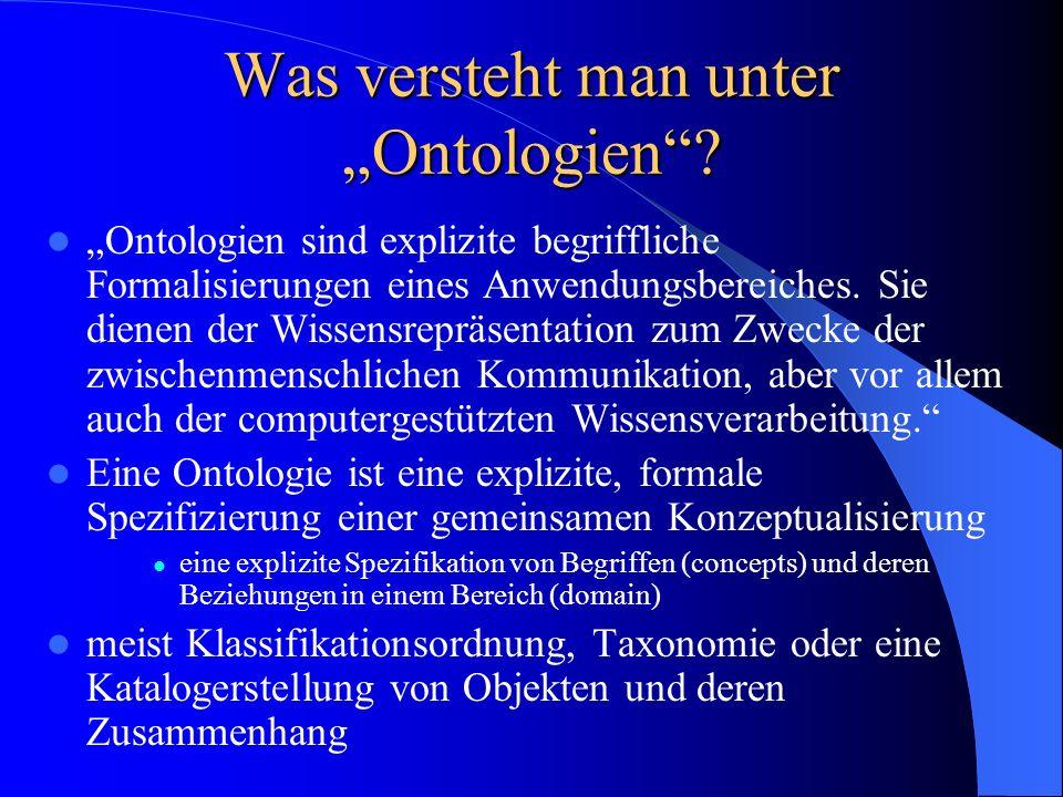 Ontologien (2) Ontologien als konzeptuelle Modelle: – Es existiert noch keine Universalontologie Projekte zu generischen Ontologien: 1.) CYC (Common Sense Ontology) bzw.
