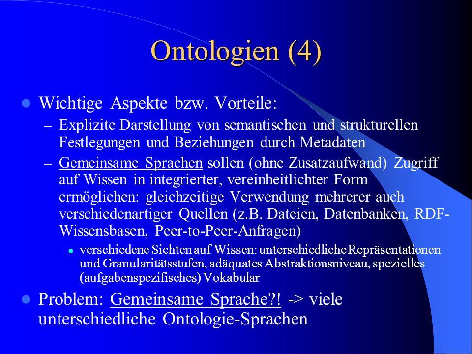 Ontologien (4) Wichtige Aspekte bzw.