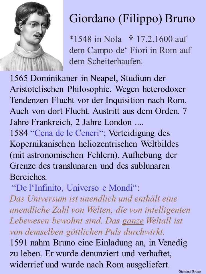 Giordano (Filippo) Bruno *1548 in Nola 17.2.1600 auf dem Campo de Fiori in Rom auf dem Scheiterhaufen.